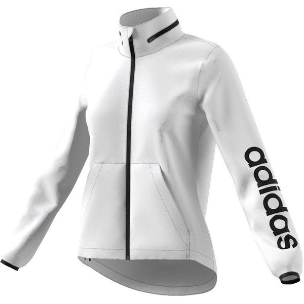 Women's Adidas Linear Windbreaker Jacket ($58) ❤ liked on Polyvore featuring activewear, activewear jackets, white, adidas sportswear, adidas and adidas activewear