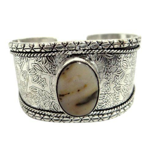 """Iba Silver Tone Botswana Agate Stone Adjustable Cuff Bollywood Style Bracelet Fashion Bangle Jewelry India Gift IBA. $19.99. SALE FOR - 1 Cuff; MATERIAL - Brass;. SIZE - (Adjustable) Width 1.4"""" Inches; COLOR - Silver Tone;. Silver Tone Cuff"""