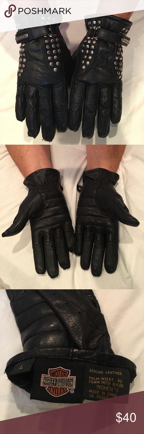 Leather work gloves ebay - Women S Leather Harley Davidson Gloves