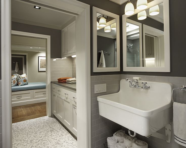 Image Of laundry mud rooms gray walls gray subway tiles backsplash utility sink white mirror marble
