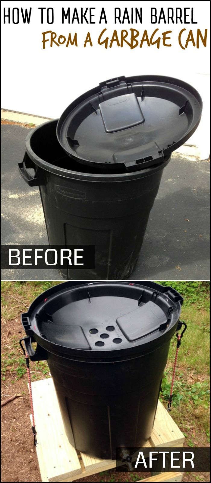 Collect rain water for your garden by turning a garbage can into a rain barrel!