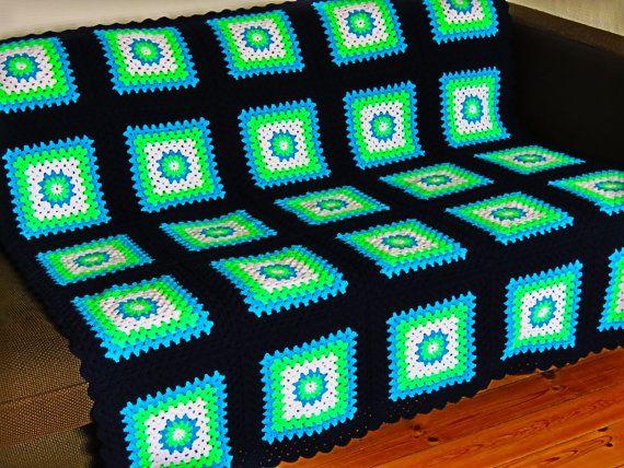 "Colorful Afghan Blanket Colorful Crochet Blanket 50"" x 50"" 127cm x 127cm"