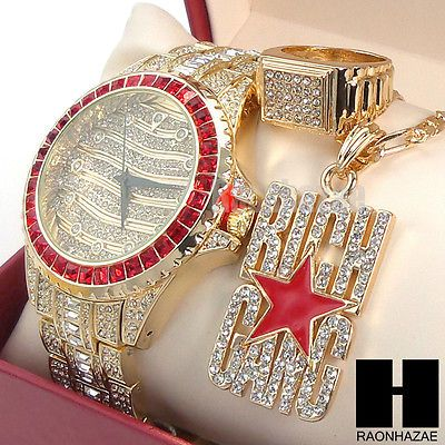 HIP HOP RICH GANG RUBY ICED OUT WATCH W/ Full CRYSTALS WATCH and RING SET GW200