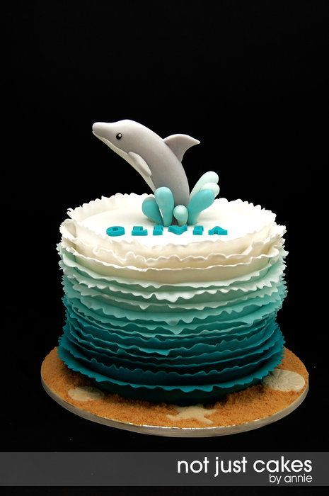 Dolphin Themed 6th birthday cake - by NotJustCakesByAnnie @ CakesDecor.com - cake decorating website