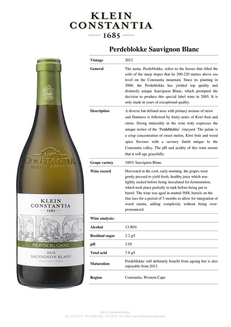 2012 Klein Constantia Perdeblokke Sauvignon Blanc. Had it as a special wine of September 2015. Crisp and refreshing. Nice. 86/100