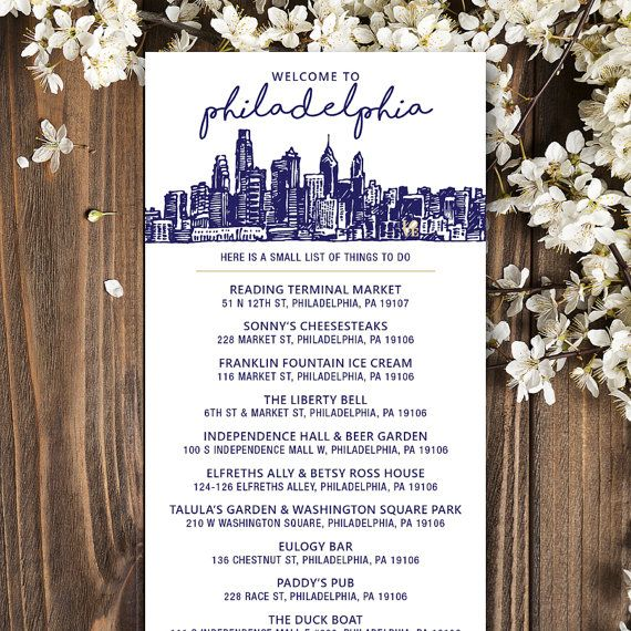 A Welcome to Philadelphia insert -- perfect for your Hotel Gift Bags for your Wedding Guests. This includes a list of local shops, eats and historic landmarks in Downtown Philadelphia. Let us customize for you! Please include the following when placing the order: - Your Wedding Colors - Bride & Grooms name (this is listed at the bottom) - Wedding Date We customize. YOU PRINT! File is a standard rack card size - 4x9 and is one-sided. We can also use this layout for a custom wedding itiner...