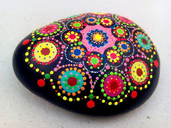 Handpainted Stone Dots Circles Mandala by ColorBakalito on Etsy