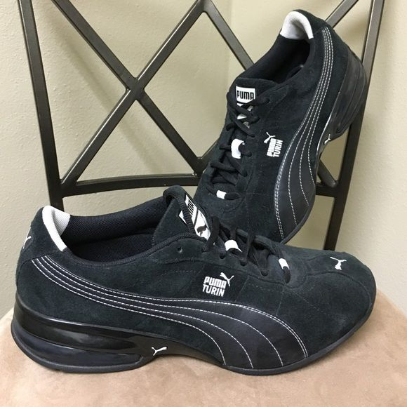 Mens Puma Turin Black Suede Running Shoes Black Suede. Good traction on the bottom and in very good condition. I don't think I have seen my husband wear these out and he did not want them. They were not being used. Can make a reasonable offer. Puma Shoes Sneakers