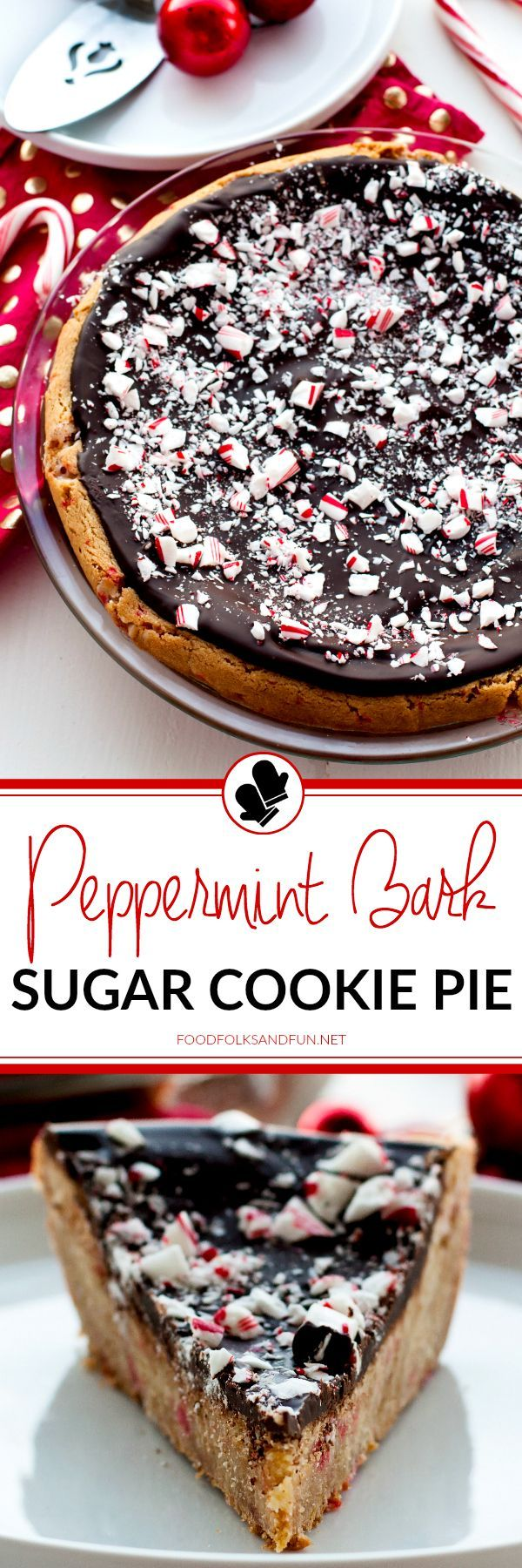 This Peppermint Bark Sugar Cookie Pie is a delicious, festive dessert that is perfect for holiday entertaining and SO easy to make. Peppermint, dark chocolate, and sugar cookie-how could you go wrong?! @walmart #BakingWithBetty #ad