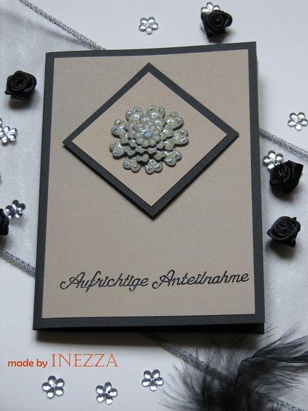 Trauer & Beileid - Trauerkarte, Beileidskarte mit 3D-Blume - ein Designerstück von Inezza-Geschenke bei DaWanda