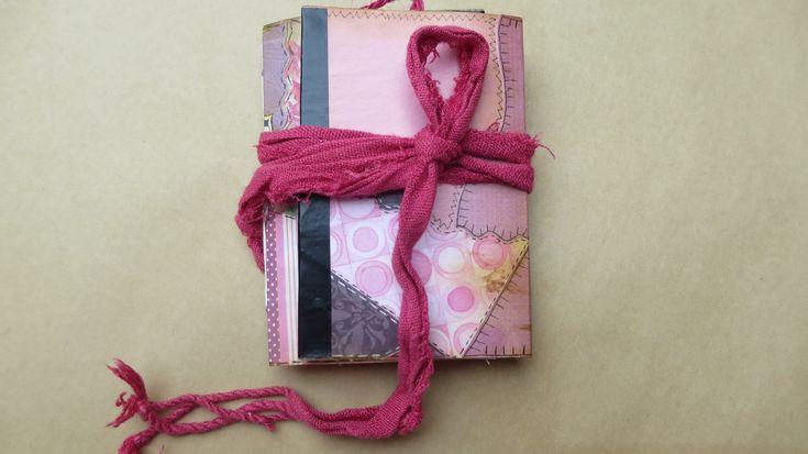 Pink Grandma's Quilt Mini Handmade Junk Journal/Notebook/Art/Memory/Dream/Planner/Scrapbook/Travel/Gratitude Journal by Maroonmanx on Etsy #quilting #patchwork #grandma #giftideas #maroonmanx