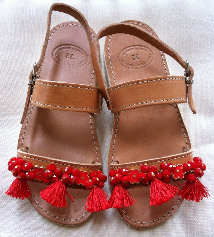 Handmade Genuine Leather Girls Sandals by ScreationsGR on Etsy