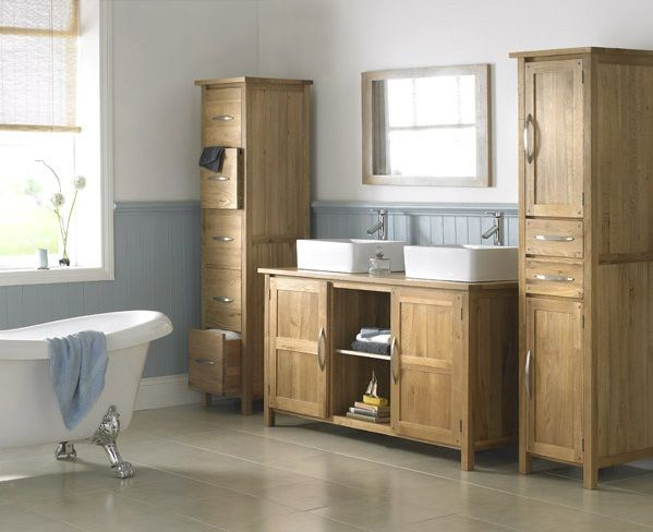 Classic Oak Bathroom Cabinets Double Sink With Framed Mirror Decolover Net