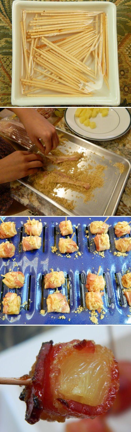Bacon Wrapped relleno con anana, ciruela, datiles...