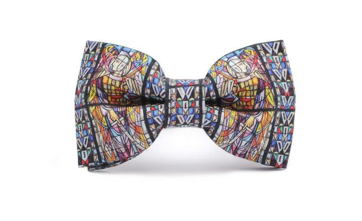 STAINED GLASS printed bow tie. Organic, certificated cotton,