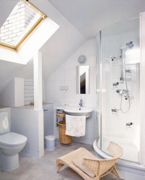 17 best images about remodeling on pinterest small for Small bathroom with sloped ceiling