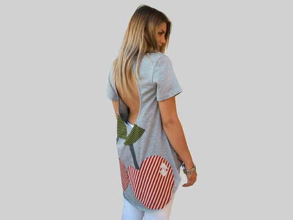 Gray loose backless top / Organic Cotton top / asymmetric women top / sexy summer top / one size loose top/ cherry top /short sleeves top