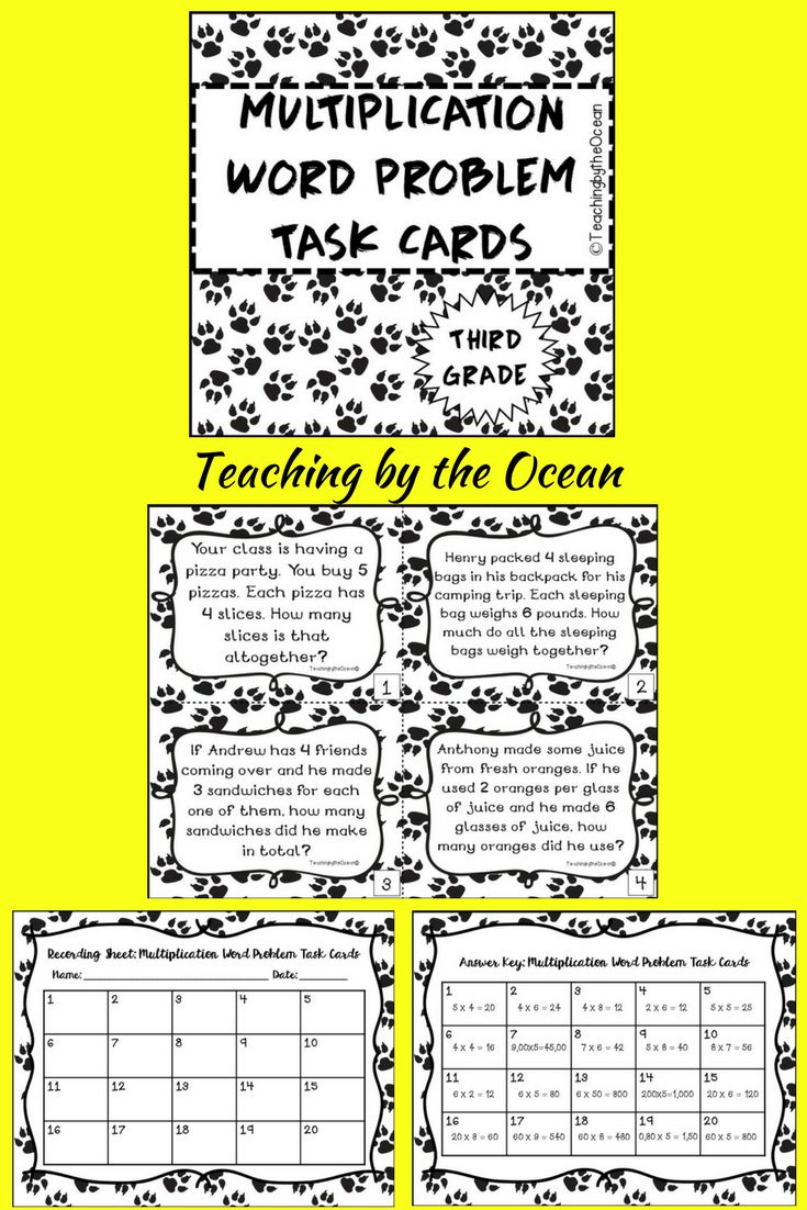 Here's a fun way to add more practice for your students. These 40 Task Cards will help you teach, reinforce, or review in order your students to master this skill.  The Task Cards are differenciated and get more challenging as they go.  Skills covered: - Simple multiplication word problems - Multiplication word problems with multiples of 10 - Multiplication word problems with multiplication in columns