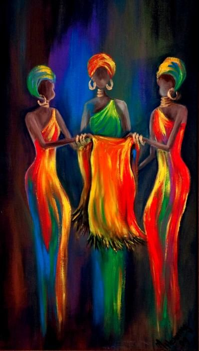 """""""The Scarf"""" - Great idea for colorful silhouette-esque art lessons with primary colors and blending on canvas to secondary colors.  Striking!  :)"""