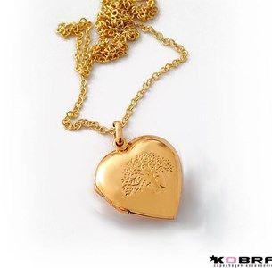 Hjerte medaljon i guld med Livets Træ