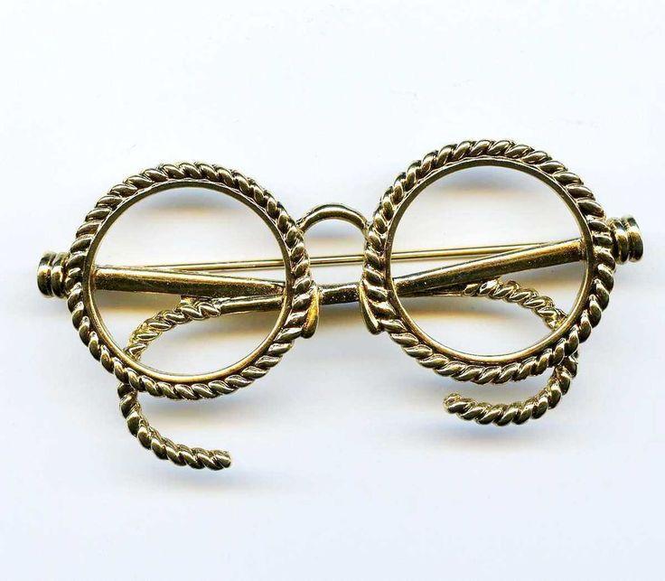 Antique Brooch Pin Eyeglass Holder Gold Finish: Vtg EYEGLASS HOLDER Figural Old Spectacles Gold Tone