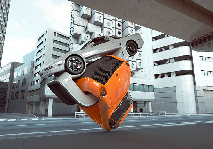 chris labrooy explores auto elasticity with twisted and tangled cars in tokyo