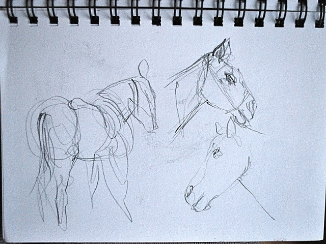 10 min sketch.  first attempt horses