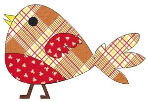 Simple bird with tail applique design pattern template in pdf email   LinleysDesigns - Patterns on ArtFire
