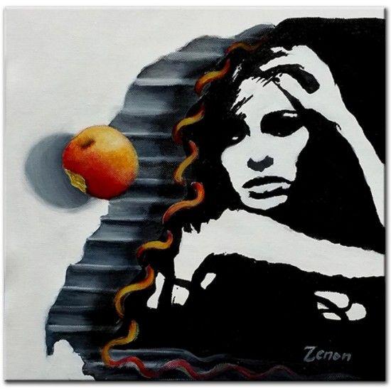 Zenon Acryl Schilderij 'Verleiding', Eva en de appel Kunstvoorjou.nl #zenon, #kunstvoorjou #schilderij
