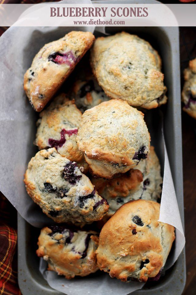 Blueberry Scones with Blueberry Cream Cheese Frosting | www.diethood.com | Light, fluffy, homemade Blueberry Scones, topped with turbinado sugar and dipped in a creamy, rich and sweet Blueberry Cream Cheese Frosting. #scones #blueberries #breakfast