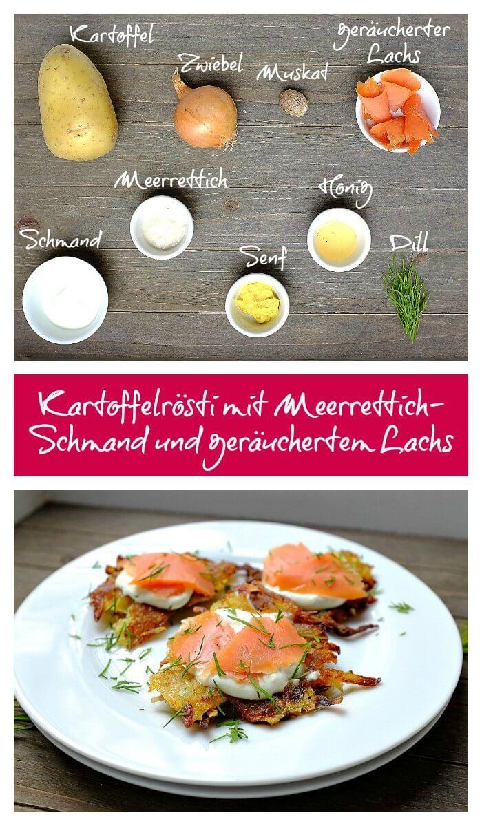Rösti | Kartoffelrösti | Meerrettich-Schmand-Creme | Dill | geräucherter Lachs