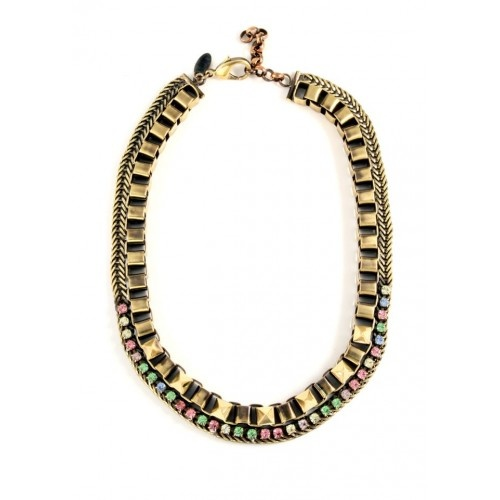 Iosselliani - Brass Necklace with Multicolour Rhinestones and Studs