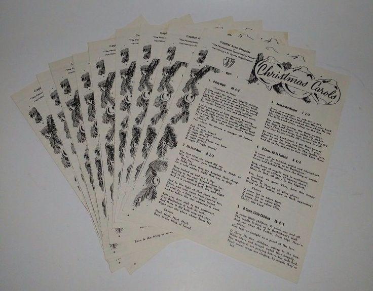 9 Vintage Christmas Carol Booklet Handouts PA Sports Hall of Fame Harrisburg