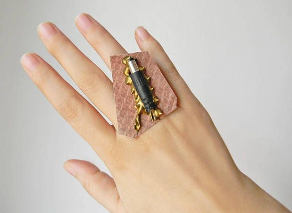 Steampunk leather ring Big statement leather ring Industrial