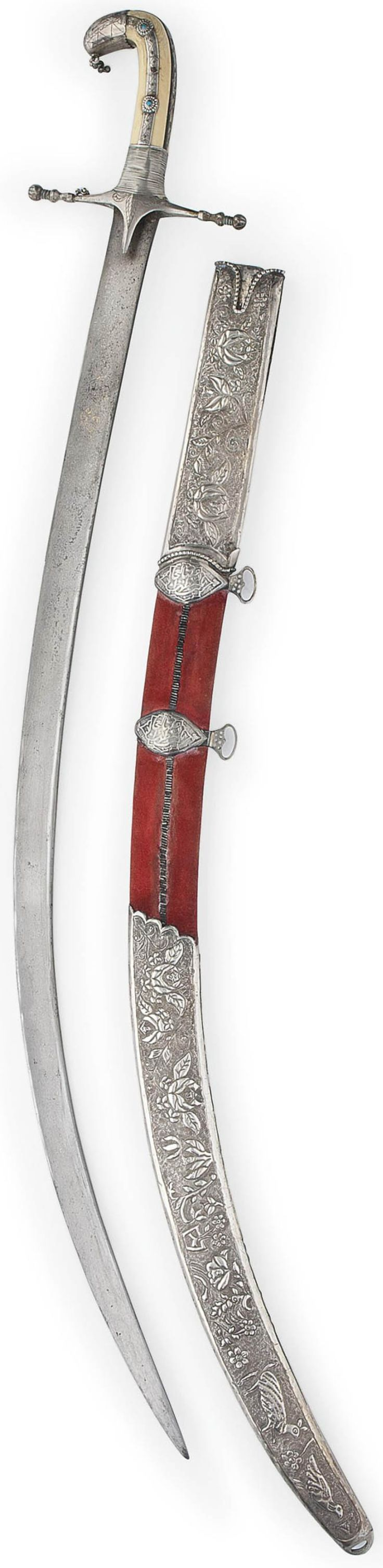 Persian (safavid) shamshir / saif, 17th c, single edged curved watered-steel blade with gold inlaid inscription cartouches, ascribed to (Assad) Ullah, 19th c Syrian curved bone hilt with silver cap on pommel, wide silver rain guards with rounded knob finials, handle with four thin bands of engraved silver front and back with raised rosettes with inset turquoise stones, 19th c red velvet sheath with floral silver repoussé locket and chape and two belt hooks, 38¼in. (97.2cm.) long.