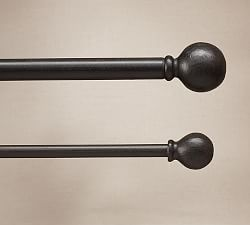 Classic ball finial - cast iron.  will it look too dark/ stand out against tan walls w purple curtains?  Iron Curtain Rods & Cast Iron Curtain Rods | Pottery Barn