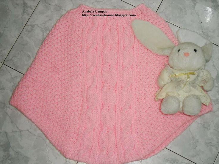 Rendas da Mãe: Poncho / Capa para menina em tricot