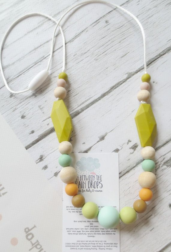 Silicone Teething Necklace Nursing by InBetweenTheRaindrop on Etsy