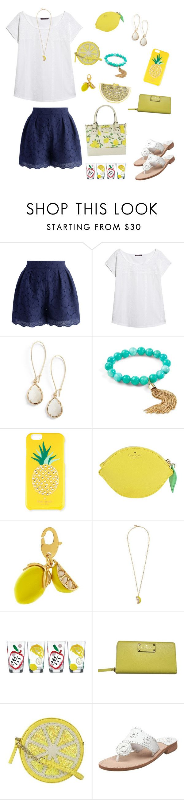 """""""lemons🍋"""" by prep29 ❤ liked on Polyvore featuring Chicwish, Violeta by Mango, Kendra Scott, Vera Bradley, Kate Spade and Jack Rogers"""