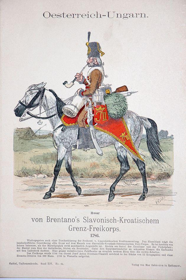 Austria; von Brentano's Slavonisch-Kroatischem Grenz-Freikorps, Hussar, 1786 by Knotel