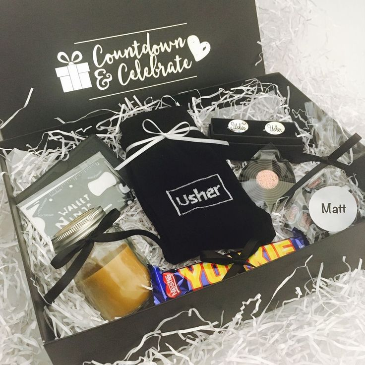Personalised Usher Gift Box. •'Usher' cufflinks in black presentation box. This gift box contains •'Usher' socks. •Bag of Black Jack sweets personalised with your choice of name. Gifts are presented in a beautiful black and silver gift box. | eBay!