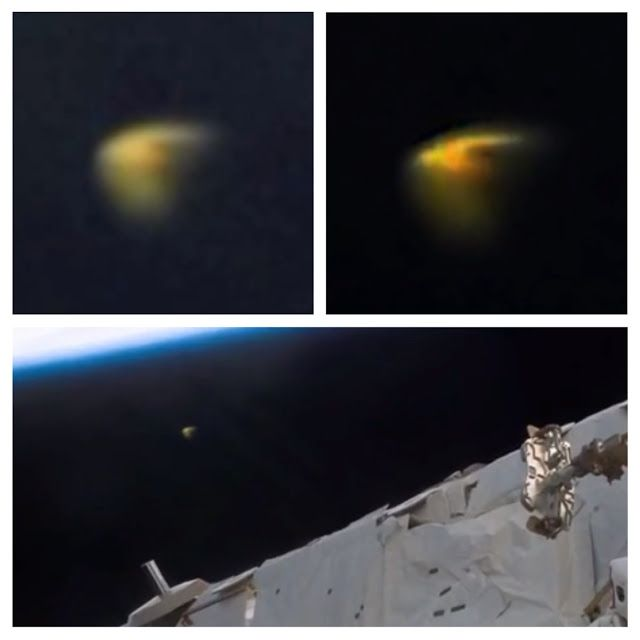 """Video: Yellow UFO Spotted Above Astronaut During NASA Space Walk  """"This amazing catch was caught on live NASA web cam this week. The cam has literally caught hundreds maybe a thousand or more UFOs over the years. This is a very strange yellow craft. Around the craft we see the typical blur like mist that UFOs are famous for. This mist is believed to be caused by the crafts propulsion system,"""" reports Scott C. Warning, author of UFO Sightings Daily."""