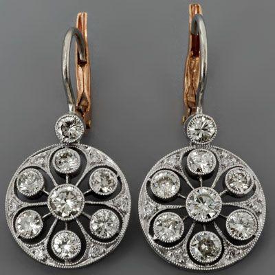 ntique Diamond Earrings Art Deco Style Platinum