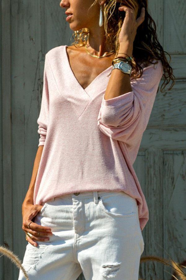 117cce937565 Women Fall V Neck Plain T-Shirts – lalasgal | Clothes | Shirts ...