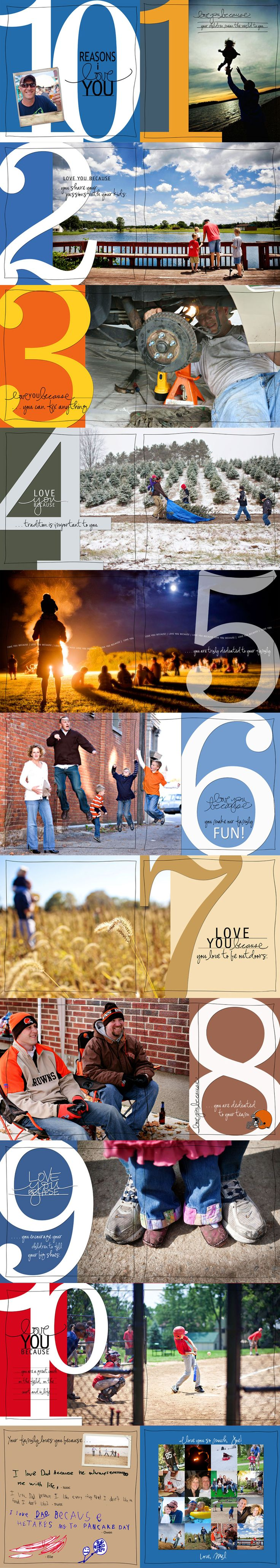 awesome photo books. i love how the backgrounds & numbers match the pictures.: Ali Edward, Gifts Cards Photo, Good Ideas, Gifts Ideas, 10 Reasons, Cute Ideas, Father Day Photo Books, Fathers Day, Father'S Day