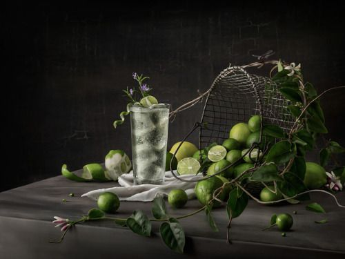 """""""Classical Cocktails, Drinks with a Renaissance Twist""""    Lime Rickey   Place lime wedges and sugar in a pint glass and using a muddler or wooden spoon, crush and stir until sugar dissolves. Fill glass with ice, add juice and club soda, and stir to combine    Photographer Greg Stroube, Bruton Stroube, St. Louis"""