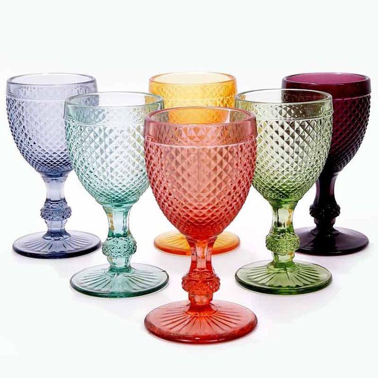Set Of 6 Portuguese Wine Glasses Diamond Pattern