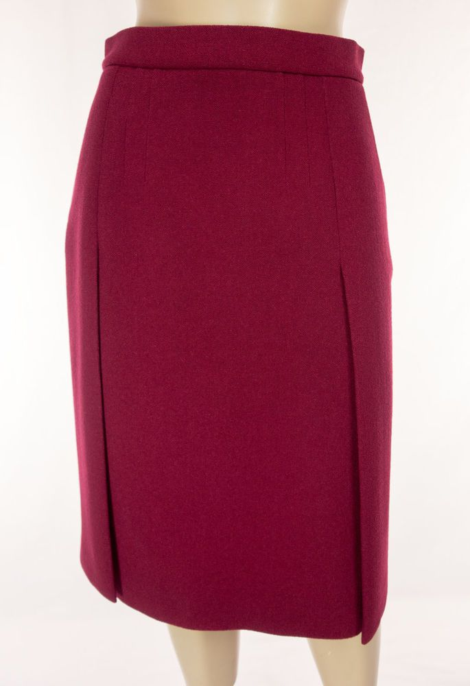 PRADA Skirt Size 38 S Small Red Reverse Pleat Weave Virgin Wool Knit Work #PRADA #ALine