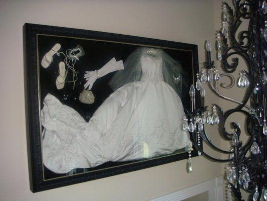 No project to big or small! Wedding dress & accessories framed by Camille