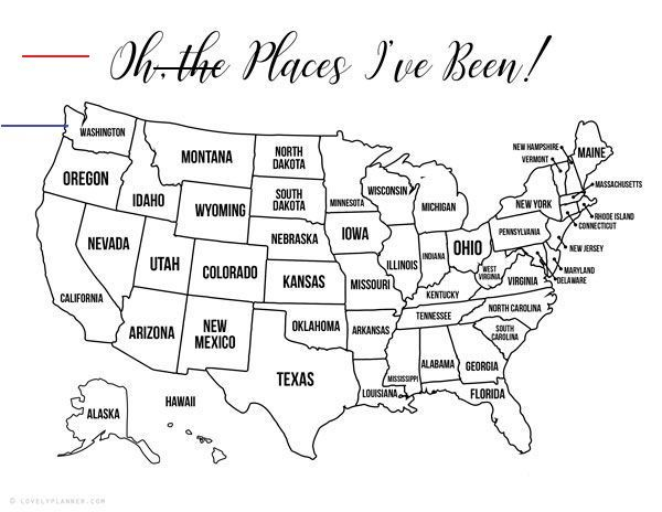 13 Free Printable Usa Travel Maps For Your Bullet Journal Usa Map Coloring Pages Lovely Planner Usatravel 13 Free Printable Reizen Grappig Washington